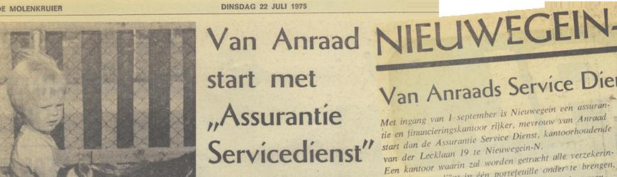 oprichting Van Anraad Assurantiën in de krant copy